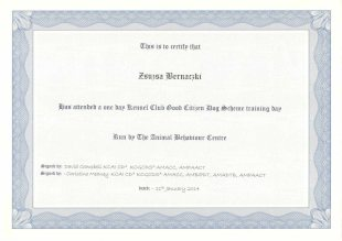 This is to certify that Zsuzsa Bernaczki has attended a one day Kennel Club Citizen Dog Scheme training day run by The Animal Behaviour Centre, signed by: David Campbell KCAI CDa KCGCDSa AMACC, AMPAACT, signed by: Christine Meaney KCAI CDa KCGCDSa AMACC, AMBIPDT, AMADTB, AMPAACT, dated: 11th January 2014