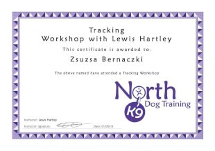 Tracking Workshop with Lewis Hartley, This certificateis awarded to Zsuzsa Bernaczki, The above named have attended a Tracking Workshop, Instructor: Lewis Hartley, Instructor signature, Date: 01/09/2013