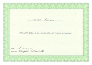 Zsuzsa Bernaczki Has attended a K.C.A.I Regional mentoring workshop, Date: 25th June 2012, Signed by: D Campbell