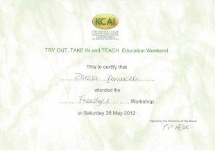 KCAI The Kennel Club Accreditation Scheme for Instructors in Dog Training and Canine Behaviour, TRY OUT, TAKE IN and TEACH Education Weekend, This to certify that Zsuzsa Bernaczki attended the Freestyle Workshop on Saturday 26 may 2012, Signed by the Chairman of the Board