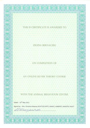 This IS Certificate is awarded to Zsuzsa Bernaczki on Completion of an Online Silver Theory Course with the Animal Behaviour Centre, Dated: 10th May 2011, Signed by: Mrs. Christine Meaney KCAI*(CD) NPTC, AMAACC, AMBIPDT, AMADTB, PAACT
