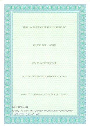 This IS Certificate is awarded to Zsuzsa Bernaczki on Completion of an Online Bronze Theory Course with the Animal Behaviour Centre, Dated: 10th May 2011, Signed by: Mrs. Christine Meaney KCAI*(CD) NPTC, AMAACC, AMBIPDT, AMADTB, PAACT