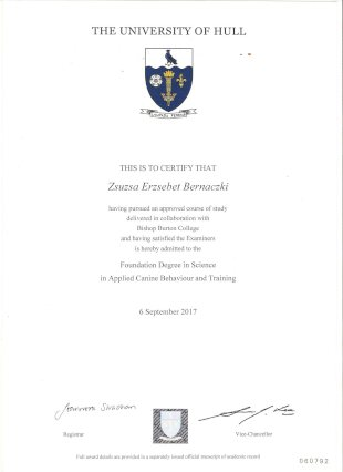 THE UNIVERSITY OF HULL, THIS IS TO CERTIFY THAT Zsuzsa Erzsebet Bernaczki having pursued an approved course of study with Bishop Burton College and having satisfied the Examiners is hereby admitted to the Foundation Degree in Science in Applied Canine Behaviour and Training, 6 September 2017, Registar (illegible), Vice-Chancellor (illegible), Full award details are provided in a seperately issued official transcript of academic record, 060792