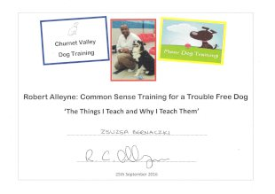 Churnet Valley Dog Training, Moor Dog Training, Robert Alleyne: Common Sense Training for a Trouble Free Dog 'The Things I Teach and Why I Teach Them', Zsuzsa Bernaczki, signature, 25th September 2016