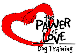 The logo of The Pawer of Love dog training, a paw and a hand forming a heart with the name of the company